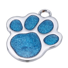 Stainless Steel Glitter Custom Pet Dog Tag Personalized Engraved Feet Card(blue) - Intl By Welcomehome.
