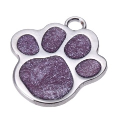 Stainless Steel Glitter Custom Pet Dog Tag Personalized Engraved Feet Card(purple) - Intl By Welcomehome.
