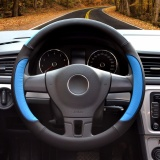 Cheaper Steering Wheel Cover 39 40Cm Pu Leather Black And Blue Size L Intl