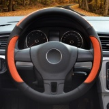 Sale Steering Wheel Cover 39 40Cm Pu Leather Black And Orange Size L Intl Online China