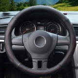 Best Price Steering Wheel Covers 39 40Cm Pu Leather All Black Size L Intl