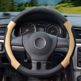 Brand New Steering Wheel Covers 39 40Cm Pu Leather Black And Beige Size L Intl