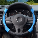 Cheaper Steering Wheel Covers 39 40Cm Pu Leather Black And Blue Size L Intl