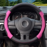 Price Comparisons For Steering Wheel Covers 39 40Cm Pu Leather Black And Rose Size L Intl