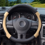 Steering Wheel Covers Diameter 15 Inch 39 40Cm Pu Leather For Full Seasons Black And Beige Size L Intl Best Buy