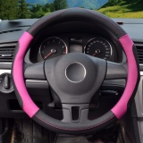 Buy Steering Wheel Covers Diameter 15 Inch 39 40Cm Pu Leather For Full Seasons Black And Rose Size L Intl Luowan Online
