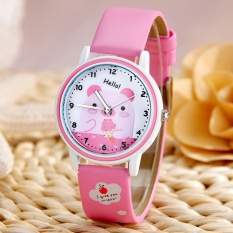 Compare Price Super Kawaii Cartoon Waterproof Kids Children Quartz Student Watch Leather Wristwatches For Girls And Boys Pink Intl On China