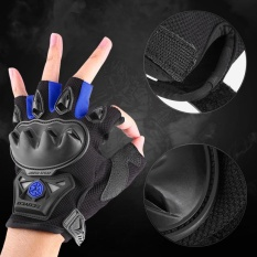 Best Offer Sweatbuy 1 Pair Half Finger Racing Riding Cycling Gloves Motorcross Outdoor Sports Armed Gloves Blue Xl Intl