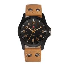 Swiss Army Quarter Men 's Exquisite Comfortable Belt Watch Light Brown Belt Black Face -