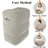 Best Deal Three Layers Inflatable Travel Footrest Leg Rest Travel Pillow Air Cushion Rest Pillow Intl
