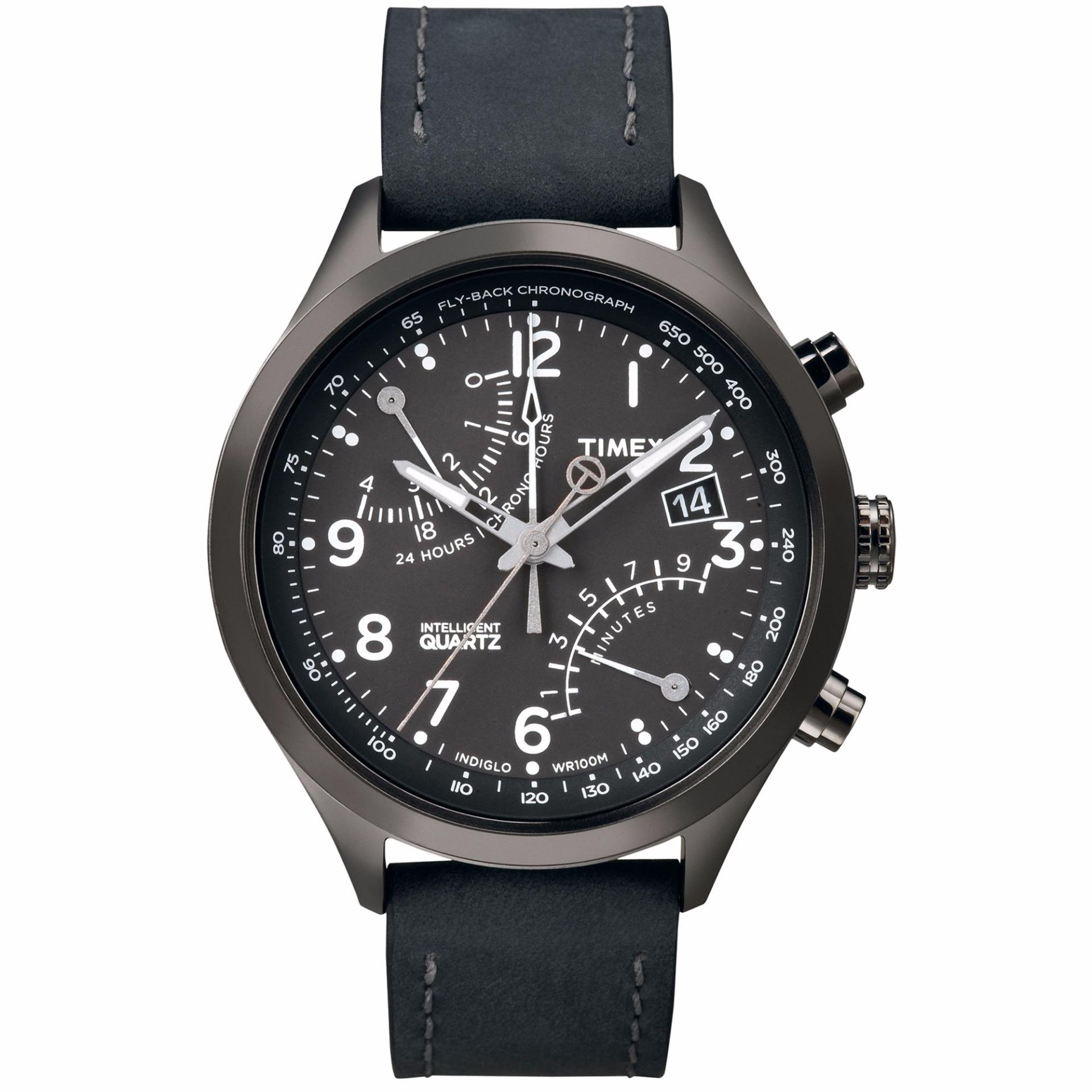 Retail Timex Intelligent Quartz® Fly Back Chronograph T2N930 Black Leather Strap Grey Case