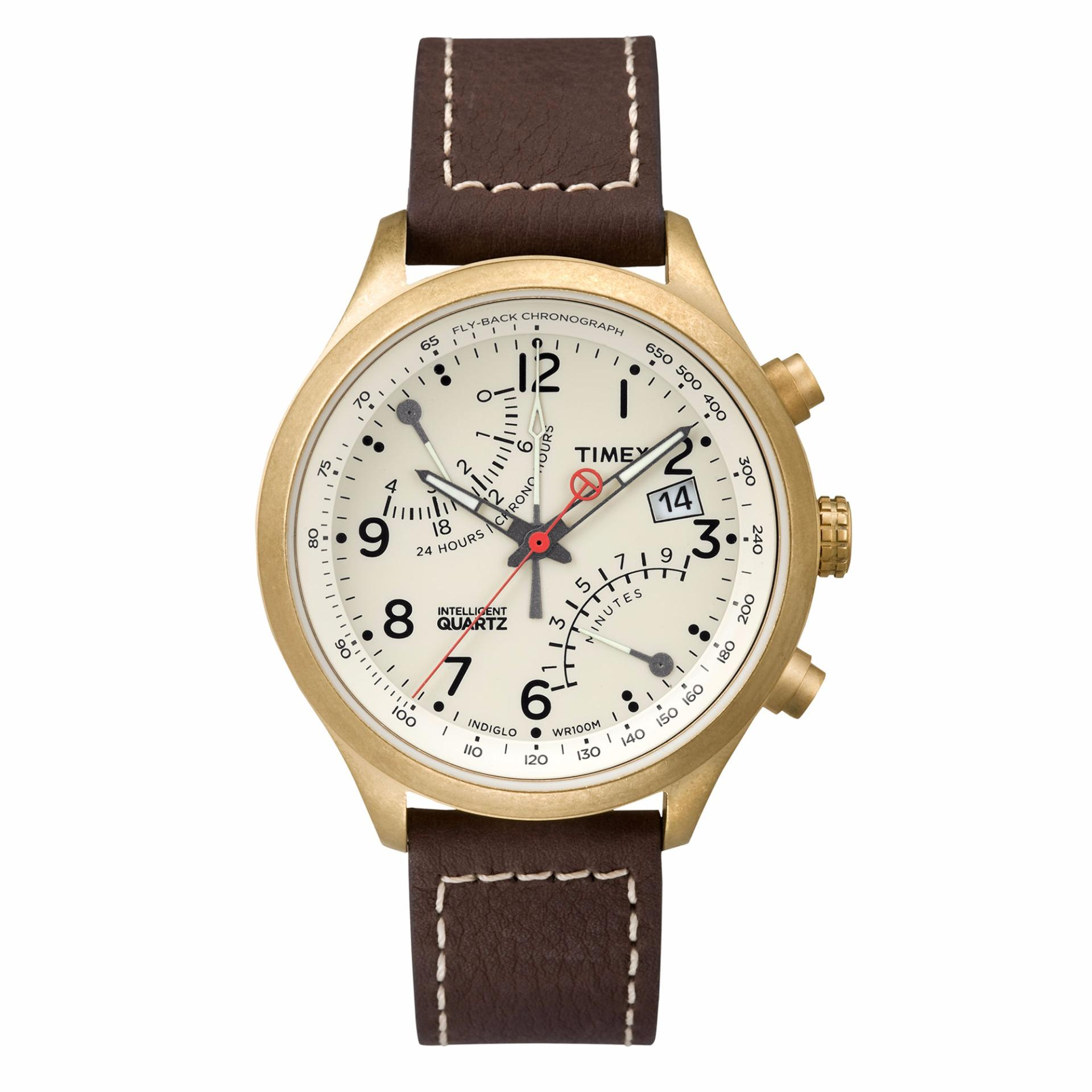 Purchase Timex Intelligent Quartz® Fly Back Chronograph T2P510 Brown Leather Strap Stainless Steel Case