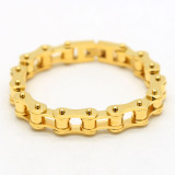 Titanium Steel Gold Plated Bike Chain Bracelet Professional Hip Hop Motorcycle In Stock