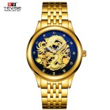 Top Brand Tevise Luxury Golden 3D Chinese Dragon Hollow Design Transparent Dial Diamond Waterproof Men Automatic Mechanical Watch Intl Price Comparison