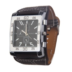 Trendy Man Wrist Watch Quartz Movement Leather Watchband Square Dial Brown - Intl By Crystalawaking.
