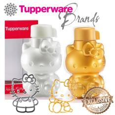 TUPPERWARE Eco Bottle Flip Top Hello Kitty bottle 425ML [1PAIR: GOLD & PEARL] WITH BOX