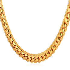 U7 22 Hot Classic 18K Real Gold Plated Chain Necklace Gold Deal