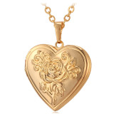 Where To Buy U7 Flower Locket Pendant 18K Real Gold Plated Necklace Gold