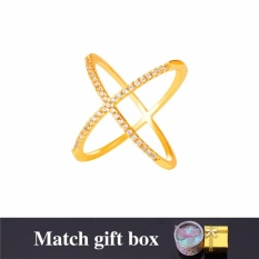 Compare Price U7 Trendy Cross X Shape Ring With Gift Box Aaa Cubic Zironica Gold Platinum Plated Vintage Unique Design Band Ring For Women Gold Silver Intl U7 On China