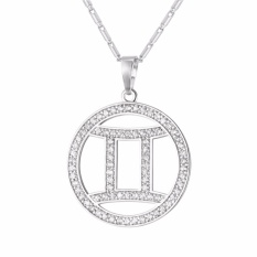 Best Reviews Of U7 Zodiac Charms Gemini Pendant Necklace Simple Women Men Jewelry Perfect Gift 18K Gold Platinum Plated Cubic Zirconia Lucky Necklace Twelve Constellations Gold Silver Intl