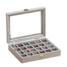 Compare Uinn 24 Slots Velvet Desk Jewelry Storage Box Ring Necklace Jewelry Carrying Case Beige Intl