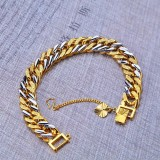 Sale Unique Two Color Mixed Chain Bracelet Gold Silver Plated Material Copper Cuban Style Luxury Fashion Jewelry Emas Korea Gelang Intl Online China