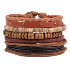 Unisex European Fashion Woven Leather Hemp Rope Bracelet - Intl By Crystalawaking.