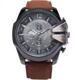 Low Cost V6 Super Speed Men S Fashion Sport Analog Quartz Big Case Black Dial Leather Band Wrist Watch Waa765 Intl