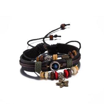 Vintage Black Leather Cuff Bracelet WomenMen Jewelry Star Bead Rope Bangle Wristband