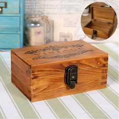 Coupon Vintage Wooden Jewelry Box Metal Lock Key Trinket Chest Gift Earring Watch Case Intl