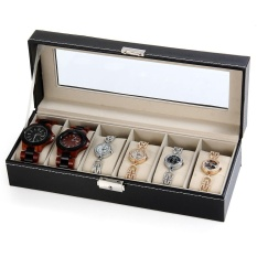Coupon Watch Jewelry Storage Case 6 Grids Pu Leather Display Box For Bracelet Shop Intl