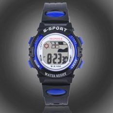 Free shipping Waterproof Children Boys Digital LED Sports Watch Kids Alarm Date Watch Gift Blue -