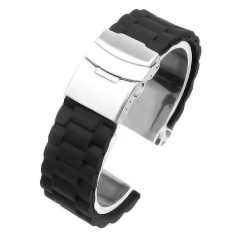 Waterproof Silicone Sports Watch Band Replacement Wrist Strap Bracelet Deployment Clasp 22mm (black) By Vococal Shop.