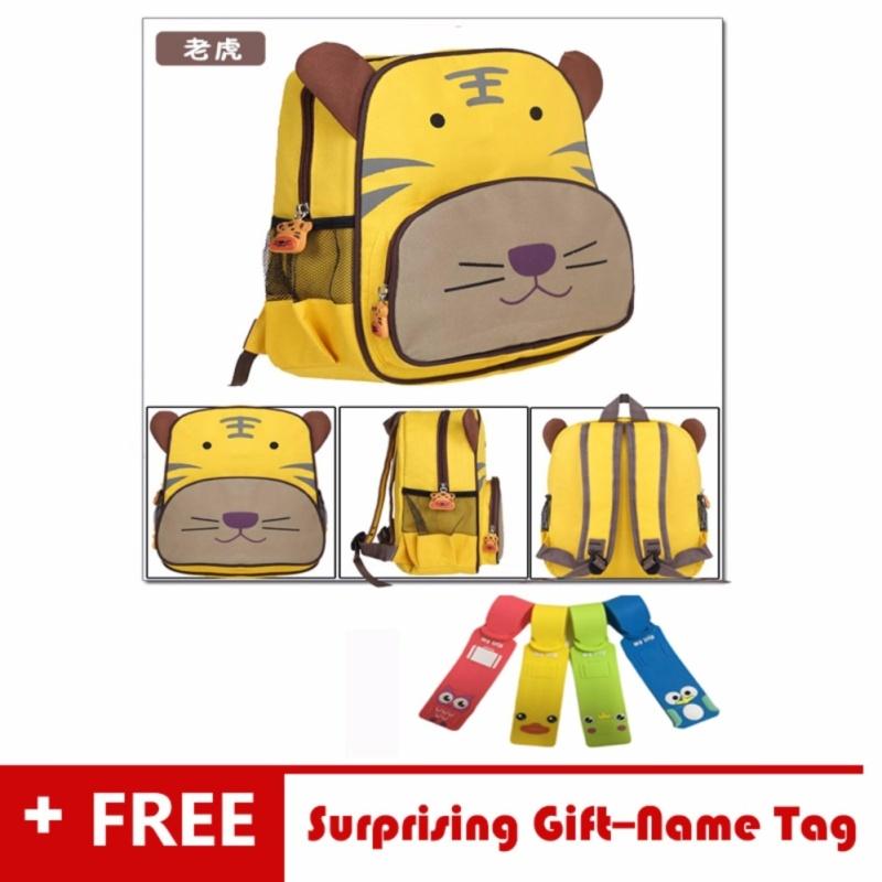 Waterproof Ultralight Kids Children Backpack School Bag Korean Style-3D Cartoon Yellow Tiger Pre School Toddler Sidekick Bags Outdoor New Semester Happy Study Blue Boys&Girls for Ages 3&Older - intl