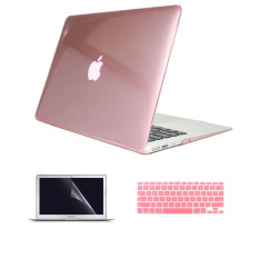 """Welink  3 in 1 Apple MacBook Air 11 Case / Clear Crystal Case + Keyboard Cover + Screen Protector for Macbook Air 11"""" (Clear Pink)"""