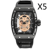Sale Wholesale Skone 3987 2017 Pirate Skull Style Quartz Men Watches Brand Men Military Silicone Men Sports Watch Waterproof Relogio Masculino 5Pcs Pack Intl Skone