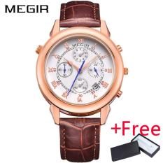 Where To Buy Wholesaler Megir Ml2013 New Watch Men Waterproof Roman Digital Military Wristwatch Genuine Leather Men Quartz Watches Clock Intl