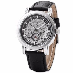 Promo Winner Skeleton Design Auto Mechanical Watch Leather Material Black Export Intl