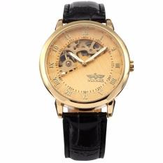 Great Deal Winner Skeleton Hollow Men S Hand Winding Mechanical Golden Dial Leather Wrist Watch Pmw067 Intl