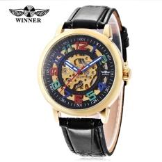 New Winner W099 Male Auto Mechanical Watch Luminous Leather Band Men Wristwatch Intl
