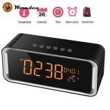 Womdee Bluetooth Desk Clock Speaker With 2000Mha Battery Tempreture Radio With Low Harmonic Distortion And Superior Sound Black Intl For Sale