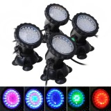 Sale Womdee Us Plug 4Pcs Submersible Lamp Pond Spotlight 36 Led Color Changing Aquarium Landscape Light For Swimming Pool Fish Tank Fountain Rockery Grass Land Intl Womdee Original