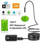 Best Womdee2M 6Led Waterproof 1600 1200P Hd 9Mm Wireless Borescope Inspection Camera Wifi Endoscope Android Ios Windows Mac Black Intl