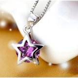Women 925 Sterling Silver Star Crystal Pendant Necklace Purple Intl Free Shipping