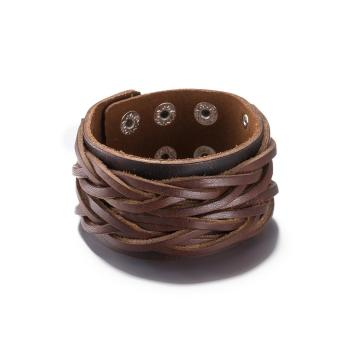 WomenMen Brown Leather Weave Rope Bracelet Vintage Jewelry Button Circles Punk Bangle Wristband