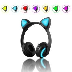 Women Girls Bluetooth Cat Ear Led Light Headphone Headset Earphones 7 Colors - Intl By Freebang.