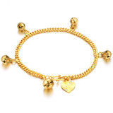 Best Reviews Of Women Heart Bell 18K Gold Chain Charm Bracelet