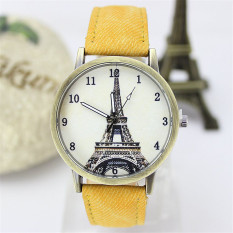 Women Retro Unique Leather Watchband Quartz Wristwatch