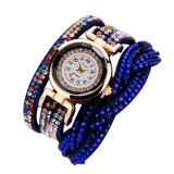 Cheaper Women Rhinestone Leather Bracelet Quartz Watch Blue