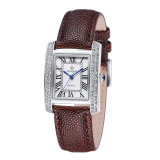 Best Buy Wwoor Adies Fashion Dress Watch Diamond Quartz Watch Leather Straps Casual Wristwatch Silver Brown Intl